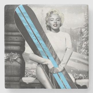 Marilyn's Snowboard Stone Coaster