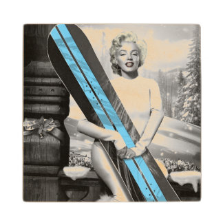 Marilyn's Snowboard Wood Coaster