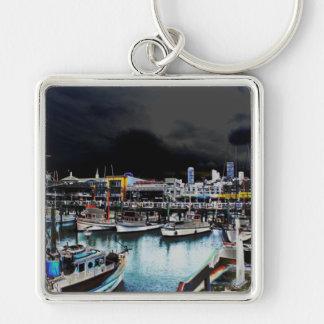 Marina Bay Silver-Colored Square Key Ring