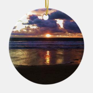 Marina del Rey Sunset Round Ceramic Decoration
