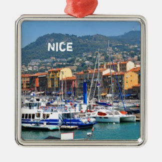 Marina in Nice, France Silver-Colored Square Decoration