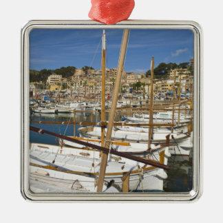 Marina, Port de Soller, West coast, Mallorca, Silver-Colored Square Decoration