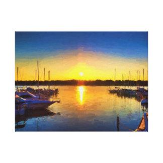 Marina Sunset Artistic Painting Canvas Print