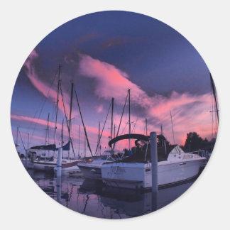 Marina Sunset HDR Round Sticker