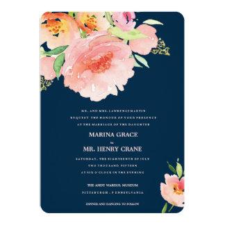 MARINA / watercolor florer wedding invitation