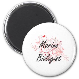 Marine Biologist Artistic Job Design with Butterfl 6 Cm Round Magnet