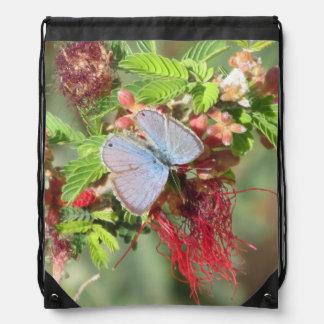Marine Blue Butterfly Cinch Bags