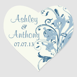 Marine Blue Ivory Floral Wedding Heart Stickers