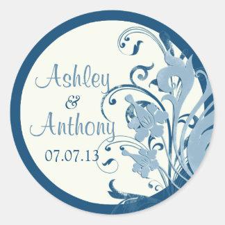 Marine Blue Ivory Floral Wedding Stickers