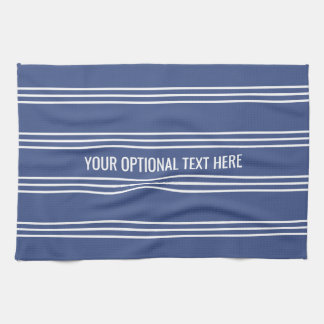 Marine Blue Stripes custom kitchen towel
