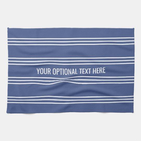 Marine Blue Stripes custom kitchen towel