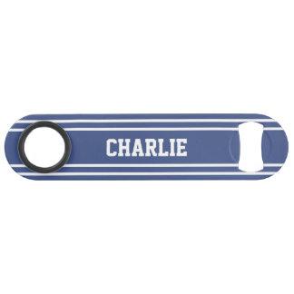 Marine Blue Stripes custom monogram bottle opener