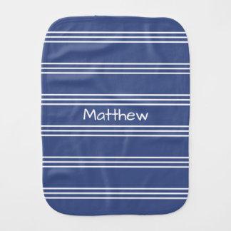 Marine Blue Stripes custom monogram burp cloth