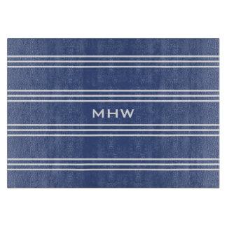 Marine Blue Stripes custom monogram cutting boards