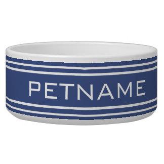 Marine Blue Stripes custom monogram pet bowls