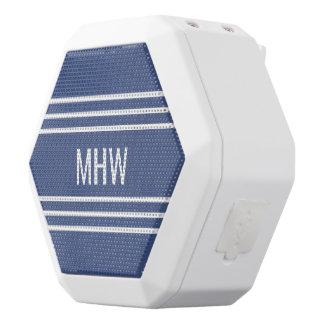 Marine Blue Stripes custom monogram speakers