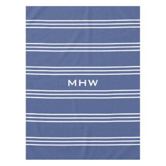 Marine Blue Stripes custom monogram table cloths