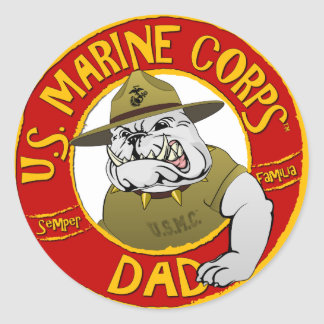 Marine Corp Dad Classic Round Sticker