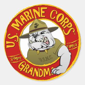Marine Corp Grandma Classic Round Sticker