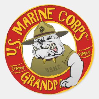 Marine Corp Grandpa Classic Round Sticker