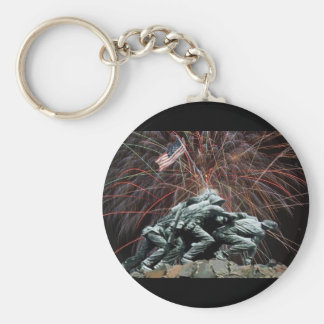 Marine Corp War Memorial with Fireworks Basic Round Button Key Ring