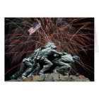 Marine Corp War Memorial with Fireworks Card