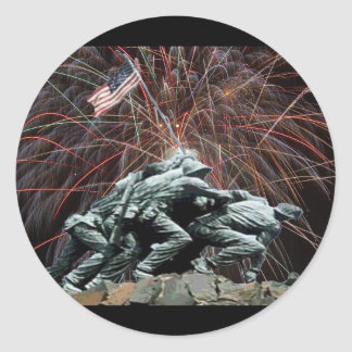 Marine Corp War Memorial with Fireworks Round Stickers