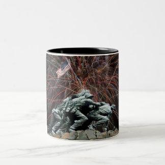 Marine Corp War Memorial with Fireworks Two-Tone Coffee Mug