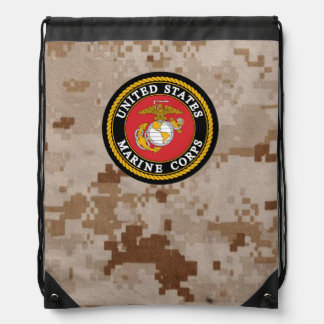 Marine Corps Camo with Seal Drawstring Bag