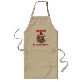 Marine Corps Christmas Devil Dog Style Long Apron