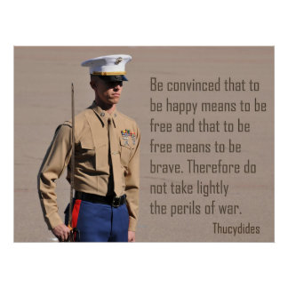 Marine Corps Officer and Perils of war quote Poste Poster