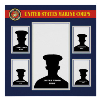 Marine Corps Photo Collage with USMC Seal Poster