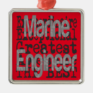 Marine Engineer Extraordinaire Silver-Colored Square Decoration