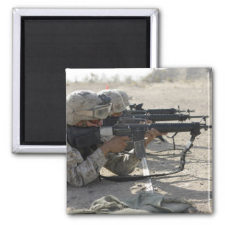 Marine fires their M16A2 service rifles Square Magnet