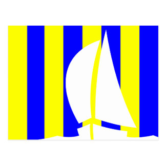 Marine Flag Letter G (Golf) and Sailing Yacht Postcard