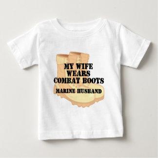 Marine Husband Desert Combat Boots Baby T-Shirt