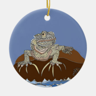 Marine Iguana on Rock with Hermit Crab Christmas Ornament