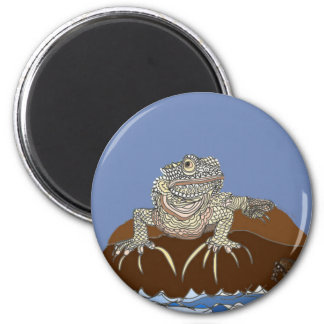 Marine Iguana on Rock with Hermit Crab Magnet