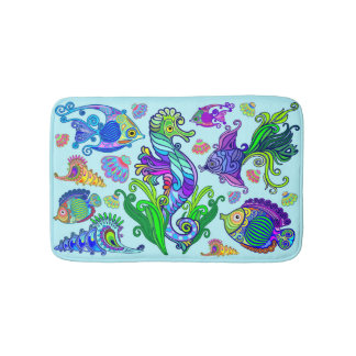 Marine Life Exotic Fishes & SeaHorses Bath Mat