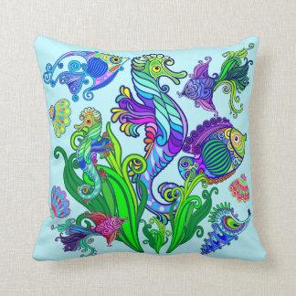 Marine Life Exotic Fishes & SeaHorses Cushion