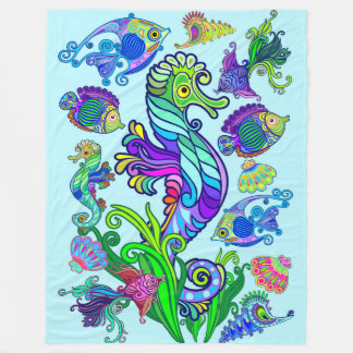 Marine Life Exotic Fishes & SeaHorses Fleece Blanket