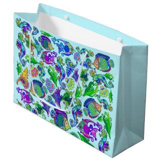 Marine Life Exotic Fishes & SeaHorses Large Gift Bag