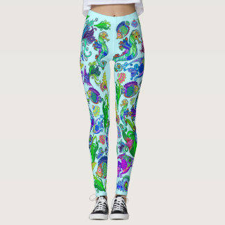 Marine Life Exotic Fishes & SeaHorses Leggings
