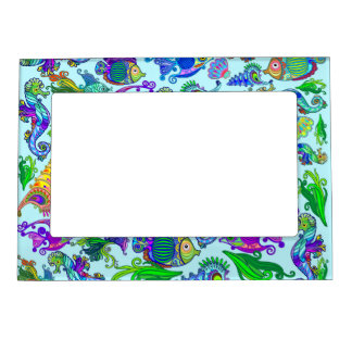 Marine Life Exotic Fishes & SeaHorses Magnetic Frame