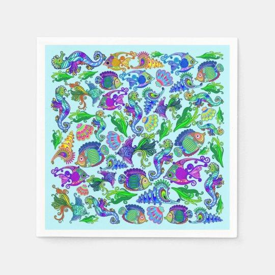 Marine Life Exotic Fishes & SeaHorses Paper Napkins