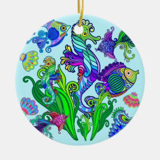 Marine Life Exotic Fishes & SeaHorses Round Ceramic Decoration