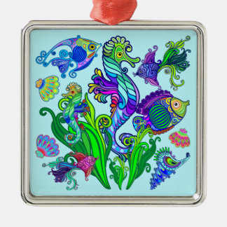 Marine Life Exotic Fishes & SeaHorses Silver-Colored Square Decoration