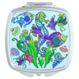 Marine Life Exotic Fishes & SeaHorses Travel Mirror