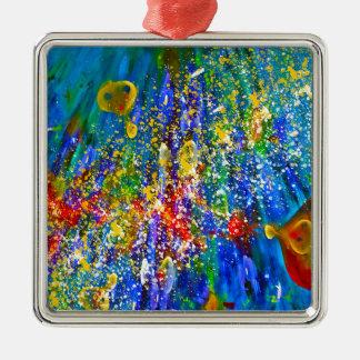 Marine Life Silver-Colored Square Decoration