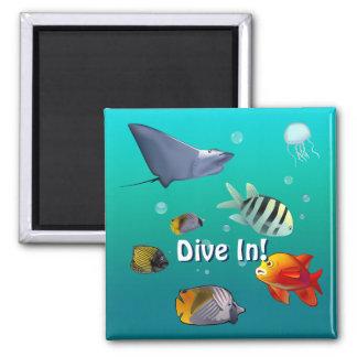 Marine Life Square Magnet